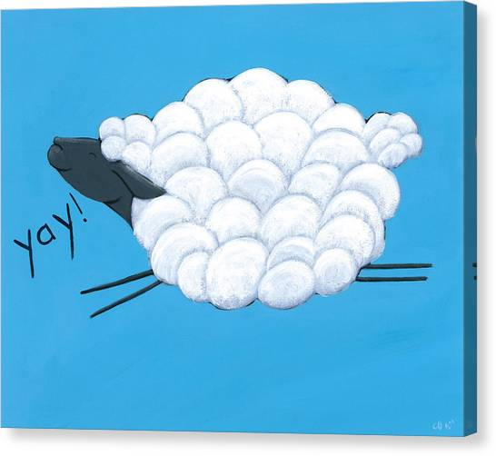 Farm Animal Canvas Print - Happy Sheep by Christy Beckwith