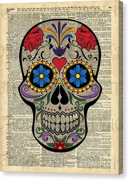 Upcycled Canvas Print - Happy Skull,sugar Skull,dia De Los Muertos,halloween Artwork by Fundacja Rozwoju Przedsiebiorczosci