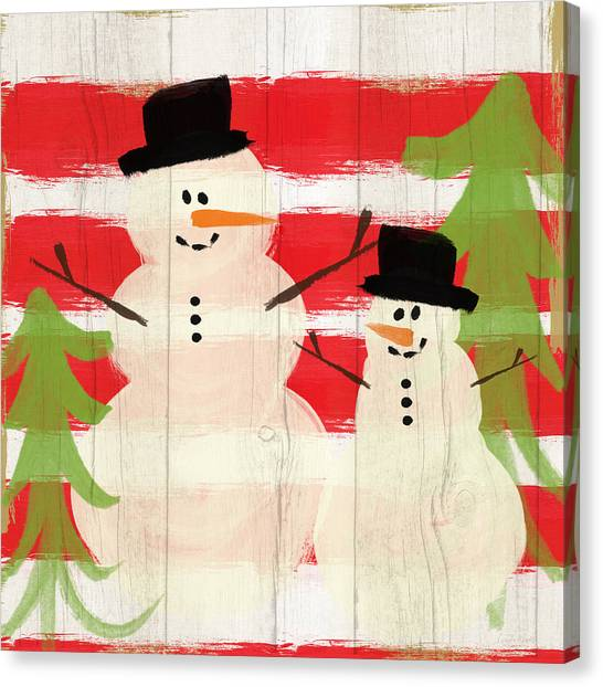 Christmas Art Canvas Print - Happy Snowmen- Art By Linda Woods by Linda Woods
