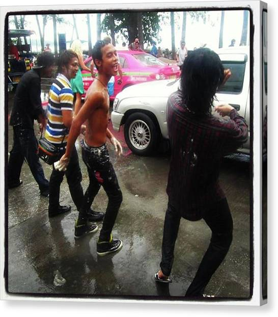 Canvas Print featuring the photograph Happy Songkran. The Water Splashing by Mr Photojimsf