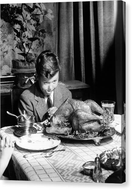Turkey Dinner Canvas Print - Happy Thanksgiving by American School