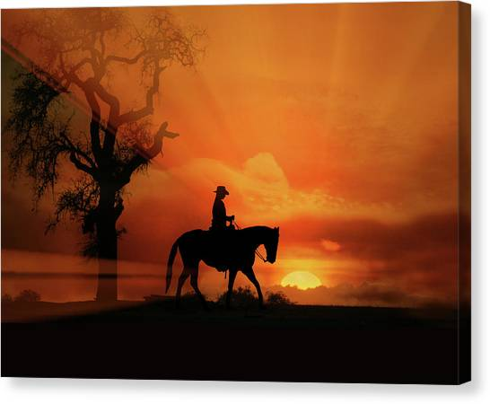 Western Pleasure Canvas Print - Happy Trails by Stephanie Laird