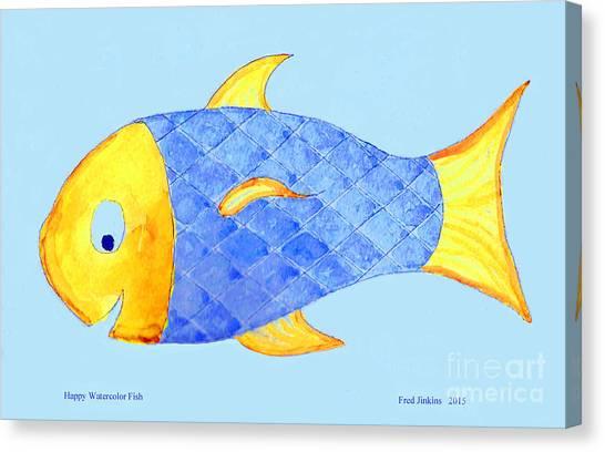 Happy Watercolor Fish Canvas Print