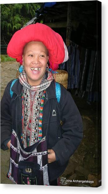 Happy Woman From Sa Pa North Vietnam Canvas Print