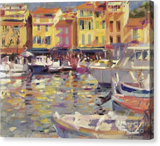 Fishing Boats Canvas Print - Harbor At Cassis by Peter Graham