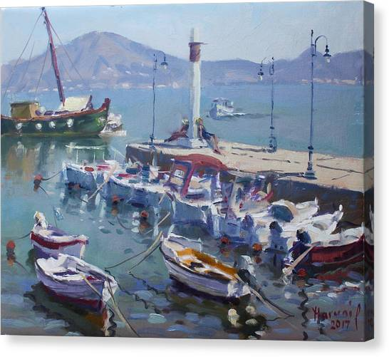 Harbor Canvas Print - Harbor At Oropos Athens by Ylli Haruni
