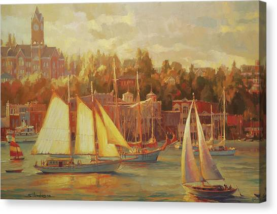 Peace Tower Canvas Print - Harbor Faire by Steve Henderson