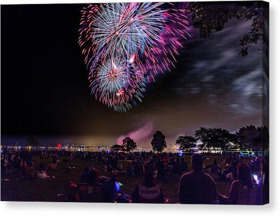 University Of Wisconsin - Madison Canvas Print - Harbor Fireworks by Vincent Buckley