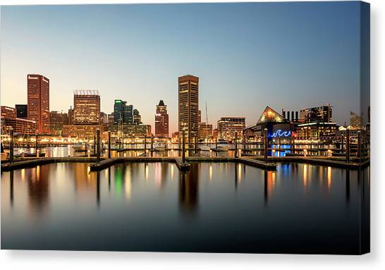 Canvas Print featuring the photograph Harbor Lights by Ryan Wyckoff