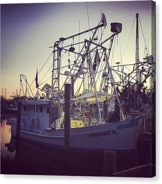 Ocean Sunsets Canvas Print - Harbor Shrimp Boat  by Joan McCool