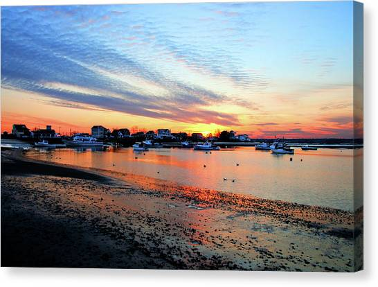 Harbor Sunset At Low Tide Canvas Print