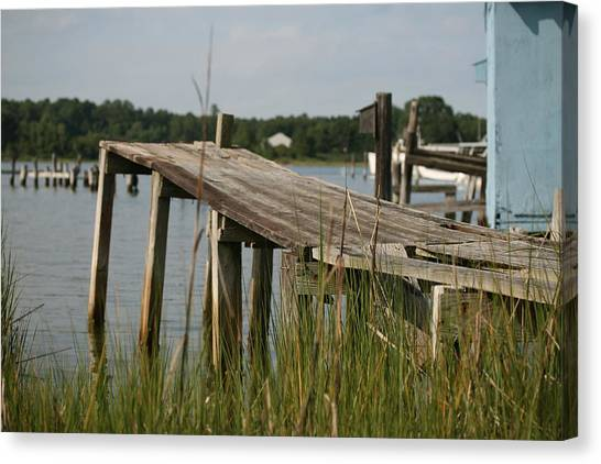 Harborton Dock Canvas Print by Karen Fowler