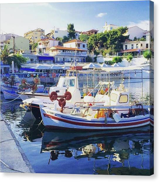Fishing Boats Canvas Print - #harbour #port #boats #seafront by Christos Mouzeviris