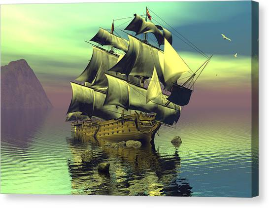 Hard Aground Taking On Water Canvas Print by Claude McCoy