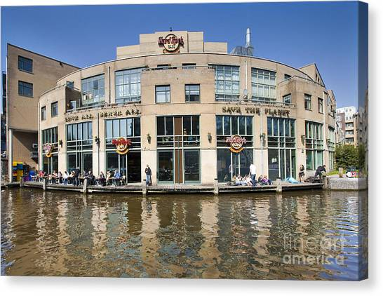 Hard Rock Cafe In Amsterdam Canvas Print by Andre Goncalves