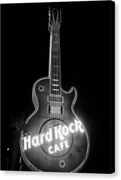 Hard Rock Cafe Sign B-w Canvas Print