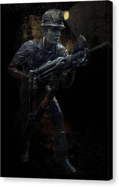Jackhammers Canvas Print - Hard Rock Mining Man by Daniel Hagerman