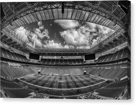 Miami Dolphins Canvas Print - Hard Rock Stadium Black And White by Robert Hayton