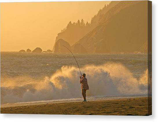 Hardy Fisherman On The California Coast Canvas Print