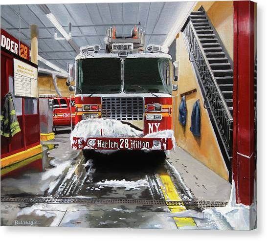 Nyfd Canvas Print - Harlem Hilton Ladder 28 by Paul Walsh