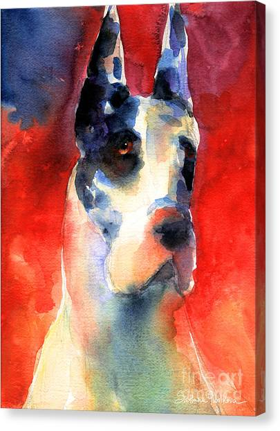 Great Danes Canvas Print - Harlequin Great Dane Watercolor Painting by Svetlana Novikova