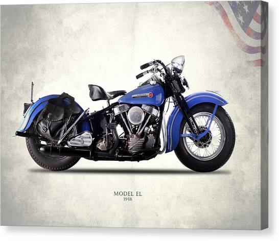 Hogs Canvas Print - Harley-davidson El 1948 by Mark Rogan