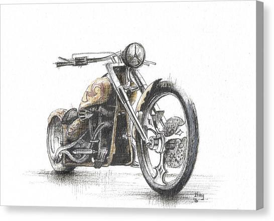 Pencil Drawing Motorcycle Canvas Print - Harley Davidson by Jason Hoy