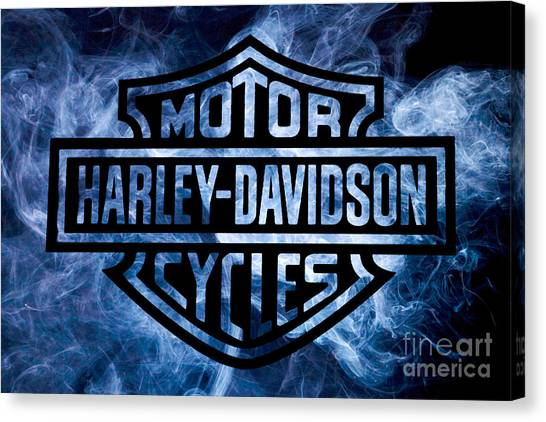 Hogs Canvas Print - Harley Davidson Logo Blue by Randy Steele