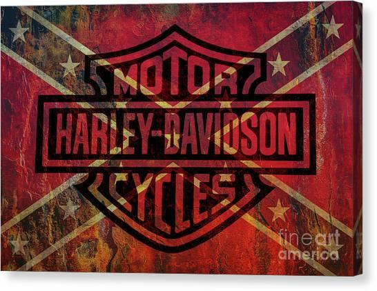 Logo Canvas Print - Harley Davidson Logo Confederate Flag by Randy Steele