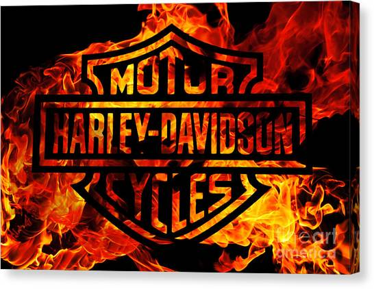 Repairs Canvas Print - Harley Davidson Logo Flames by Randy Steele