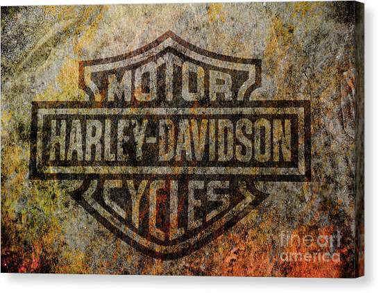 Choppers Canvas Print - Harley Davidson Logo Grunge Metal by Randy Steele