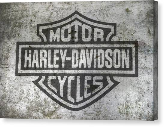 Hogs Canvas Print - Harley Davidson Logo On Metal by Randy Steele