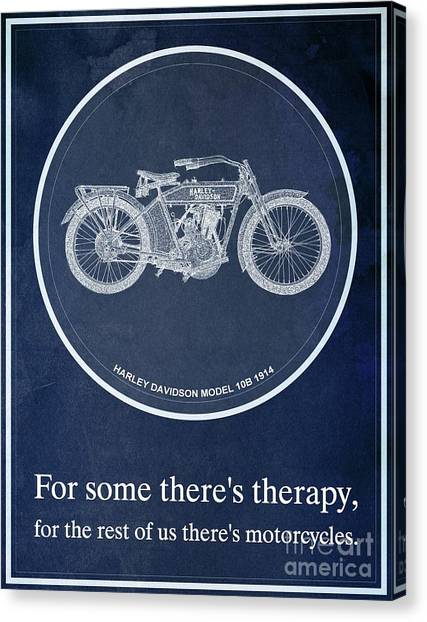 Yamaha Canvas Print - Harley Davidson Model 10b 1914, For Some There's Therapy, For The Rest Of Us There's Motorcycles by Drawspots Illustrations
