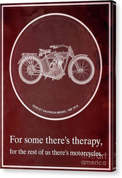 Yamaha Canvas Print - Harley Davidson Model 10b 1914 For Some There's Therapy, For The Rest Of Us There's Motorcycles, Red by Drawspots Illustrations