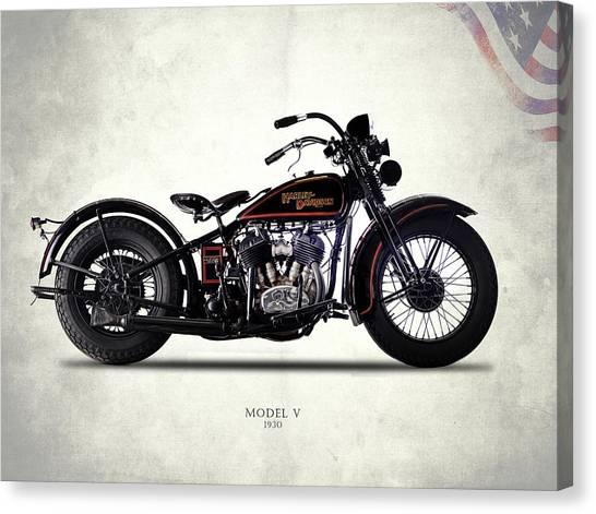 Hogs Canvas Print - Harley-davidson Model V 1930 by Mark Rogan