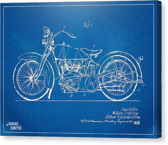 Bicycle Canvas Print - Harley-davidson Motorcycle 1928 Patent Artwork by Nikki Marie Smith
