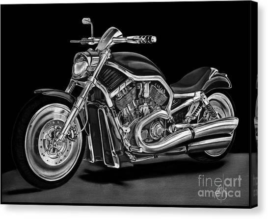 Pencil Drawing Motorcycle Canvas Print - Harley Davidson by Murphy Elliott