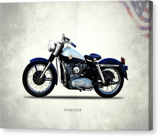 Hogs Canvas Print - Harley Davidson Sportster 1957 by Mark Rogan