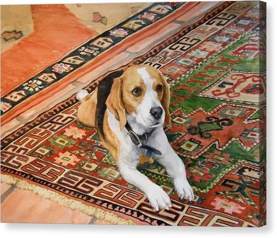 Beagles Canvas Print - Harley by Debra Jones