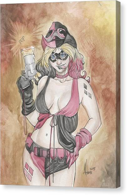 Harley Quinn And Her Popgun Canvas Print