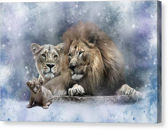 Animal Portraiture Canvas Print - Harold Helena And The Heir by Julie L Hoddinott