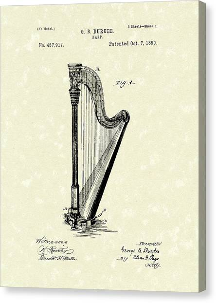 Harp 1890 Patent Art Canvas Print