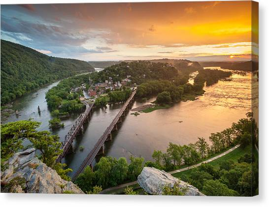 West Virginia Canvas Print - Harpers Ferry National Historical Park Maryland Heights Sunset by Mark VanDyke