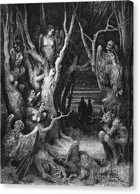 Mythological Creatures Canvas Print - Harpies by Gustave Dore