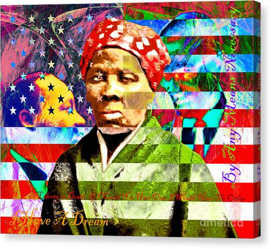 Democratic Politicians Canvas Print - Harriet Tubman Martin Luther King Jr Malcolm X American Flag With Text by Wingsdomain Art and Photography
