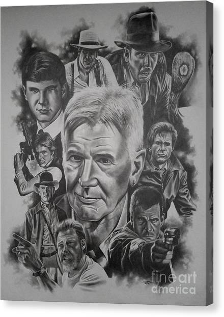 Raiders Of The Lost Ark Canvas Print - Harrison Ford by James Rodgers