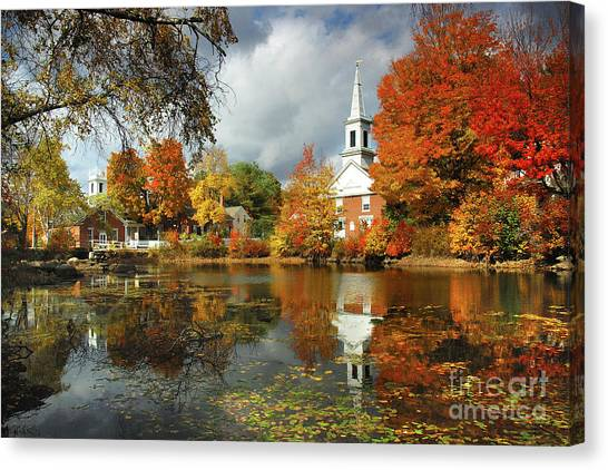 New Hampshire Canvas Print - Harrisville New Hampshire - New England Fall Landscape White Steeple by Jon Holiday