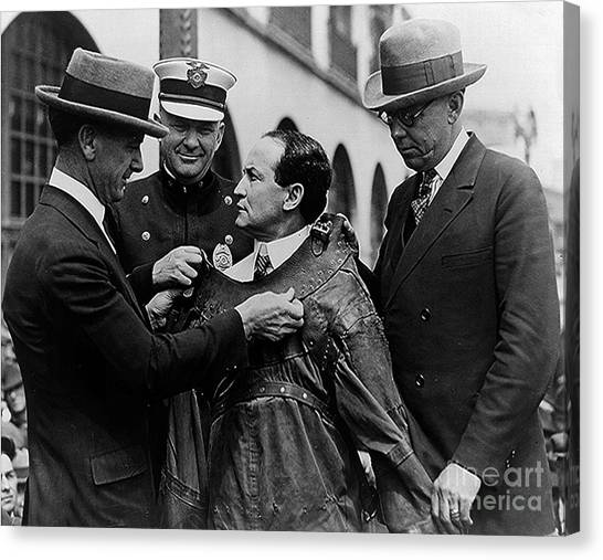Hat Trick Canvas Print - Harry Houdini Being Fitted Into A Straitjacket by American School