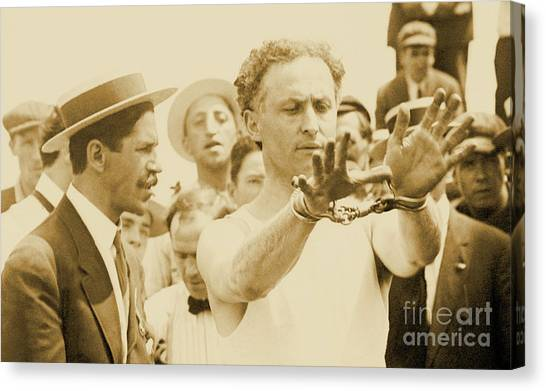 Hat Trick Canvas Print - Harry Houdini Circa 1910 by American School
