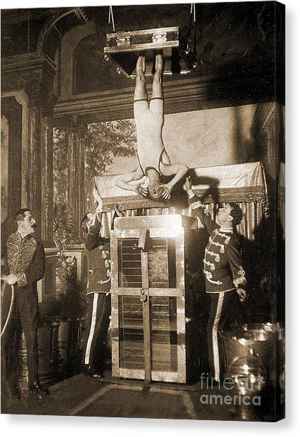 Drown Canvas Print - Harry Houdini Suspended Above A Tank Of Water  by American School